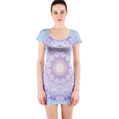India Mehndi Style Mandala   Cyan Lilac Short Sleeve Bodycon Dress by EDDArt