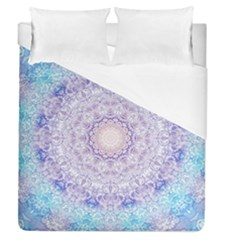 India Mehndi Style Mandala   Cyan Lilac Duvet Cover (queen Size) by EDDArt