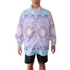 India Mehndi Style Mandala   Cyan Lilac Wind Breaker (kids) by EDDArt