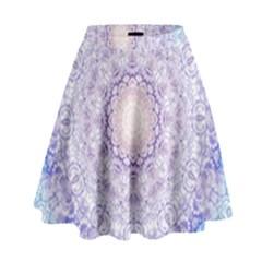 India Mehndi Style Mandala   Cyan Lilac High Waist Skirt by EDDArt
