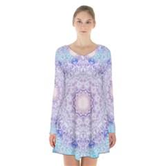 India Mehndi Style Mandala   Cyan Lilac Long Sleeve Velvet V Neck Dress by EDDArt