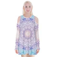 India Mehndi Style Mandala   Cyan Lilac Velvet Long Sleeve Shoulder Cutout Dress by EDDArt
