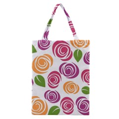 Colorful Seamless Floral Flowers Pattern Wallpaper Background Classic Tote Bag by Amaryn4rt