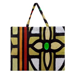 A Detail Of A Stained Glass Window Zipper Large Tote Bag by Amaryn4rt