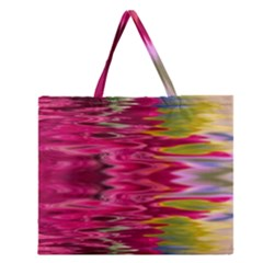 Abstract Pink Colorful Water Background Zipper Large Tote Bag by Amaryn4rt