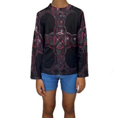 Fractal Red Cross On Black Background Kids  Long Sleeve Swimwear by Amaryn4rt
