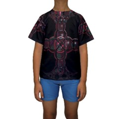Fractal Red Cross On Black Background Kids  Short Sleeve Swimwear by Amaryn4rt