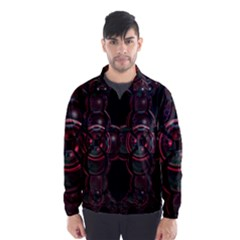 Fractal Red Cross On Black Background Wind Breaker (men) by Amaryn4rt