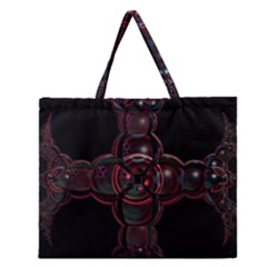 Fractal Red Cross On Black Background Zipper Large Tote Bag by Amaryn4rt