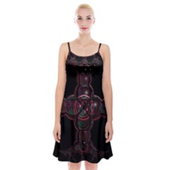 Fractal Red Cross On Black Background Spaghetti Strap Velvet Dress by Amaryn4rt