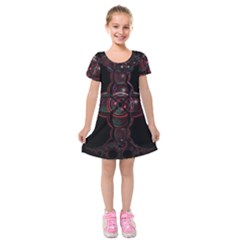 Fractal Red Cross On Black Background Kids  Short Sleeve Velvet Dress by Amaryn4rt