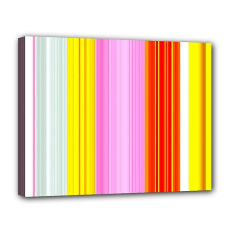 Multi Colored Bright Stripes Striped Background Wallpaper Canvas 14  X 11  by Amaryn4rt