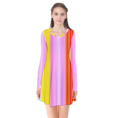 Multi Colored Bright Stripes Striped Background Wallpaper Flare Dress