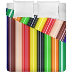 Colorful Striped Background Wallpaper Pattern Duvet Cover Double Side (california King Size) by Amaryn4rt