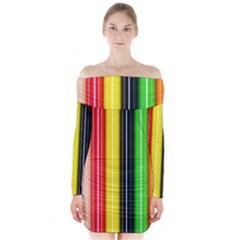 Colorful Striped Background Wallpaper Pattern Long Sleeve Off Shoulder Dress