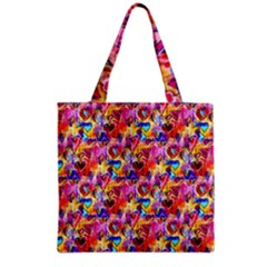 Spring Hearts Bohemian Artwork Grocery Tote Bag by KirstenStar