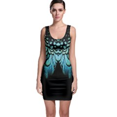 Blue And Green Feather Collier Sleeveless Bodycon Dress by LetsDanceHaveFun