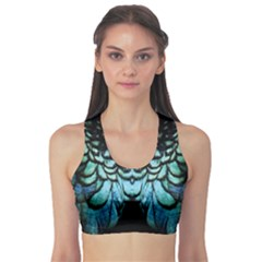 Blue And Green Feather Collier Sports Bra by LetsDanceHaveFun