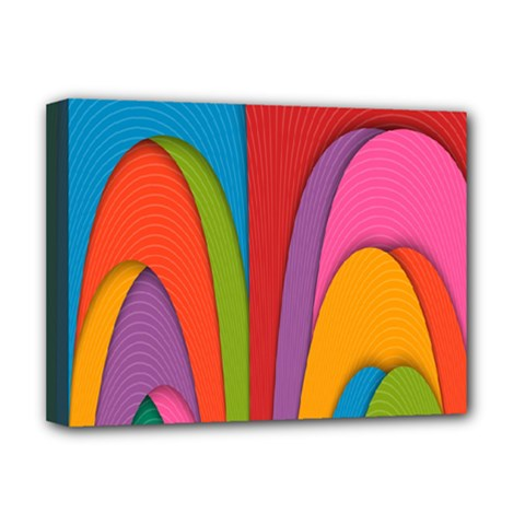 Modern Abstract Colorful Stripes Wallpaper Background Deluxe Canvas 16  X 12   by Amaryn4rt