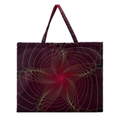 Fractal Red Star Isolated On Black Background Zipper Large Tote Bag by Amaryn4rt