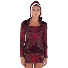 Fractal Red Star Isolated On Black Background Women s Long Sleeve Hooded T Shirt