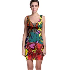 Digitally Created Abstract Patchwork Collage Pattern Sleeveless Bodycon Dress by Amaryn4rt