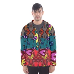 Digitally Created Abstract Patchwork Collage Pattern Hooded Wind Breaker (men) by Amaryn4rt