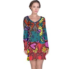Digitally Created Abstract Patchwork Collage Pattern Long Sleeve Nightdress