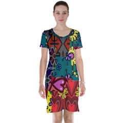 Digitally Created Abstract Patchwork Collage Pattern Short Sleeve Nightdress by Amaryn4rt