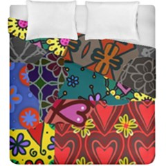 Digitally Created Abstract Patchwork Collage Pattern Duvet Cover Double Side (king Size) by Amaryn4rt