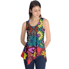 Digitally Created Abstract Patchwork Collage Pattern Sleeveless Tunic by Amaryn4rt