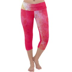 Abstract Red And Gold Ink Blot Gradient Capri Yoga Leggings by Amaryn4rt