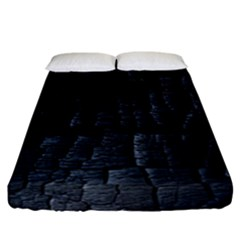 Black Burnt Wood Texture Fitted Sheet (california King Size)