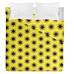 Yellow Fractal In Kaleidoscope Duvet Cover Double Side (queen Size) by Amaryn4rt