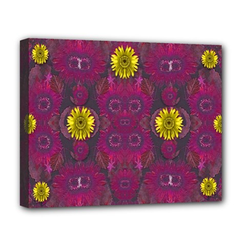 Colors And Wonderful Sun  Flowers Deluxe Canvas 20  X 16   by pepitasart