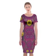Colors And Wonderful Sun  Flowers Classic Short Sleeve Midi Dress