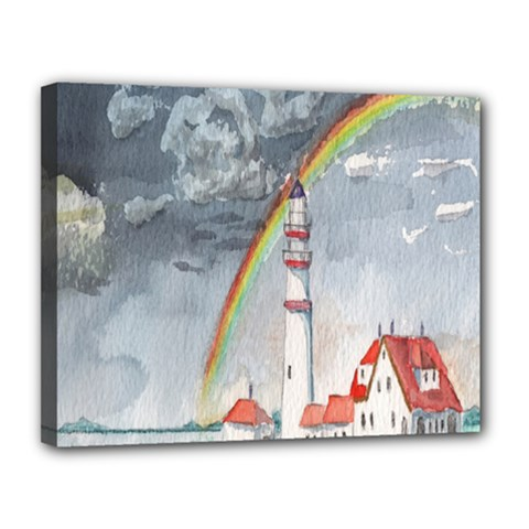 Watercolour Lighthouse Rainbow Canvas 14  X 11  by Amaryn4rt
