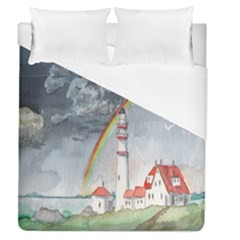 Watercolour Lighthouse Rainbow Duvet Cover (queen Size) by Amaryn4rt