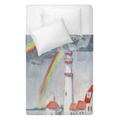 Watercolour Lighthouse Rainbow Duvet Cover Double Side (single Size) by Amaryn4rt