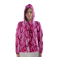 An Unusual Background Photo Of Black Swirls On Pink And Magenta Hooded Wind Breaker (women)