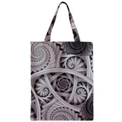 Fractal Wallpaper Black N White Chaos Zipper Classic Tote Bag by Amaryn4rt