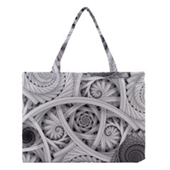 Fractal Wallpaper Black N White Chaos Medium Tote Bag by Amaryn4rt