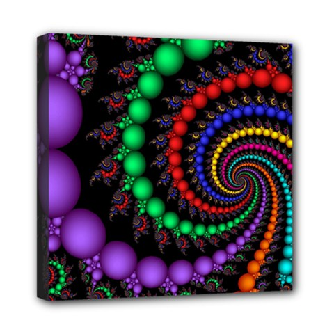 Fractal Background With High Quality Spiral Of Balls On Black Mini Canvas 8  X 8  by Amaryn4rt