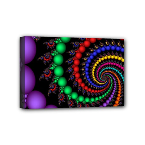 Fractal Background With High Quality Spiral Of Balls On Black Mini Canvas 6  X 4  by Amaryn4rt