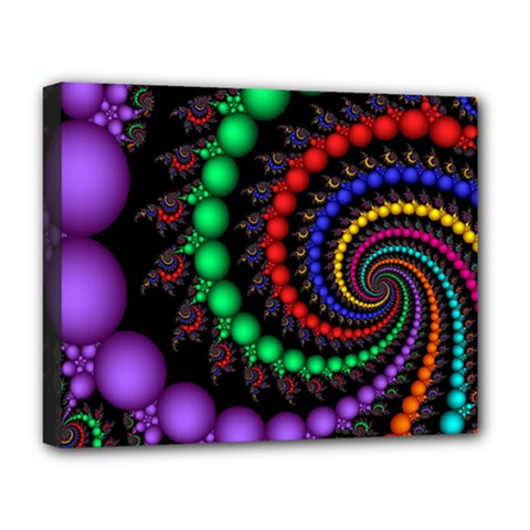 Fractal Background With High Quality Spiral Of Balls On Black Deluxe Canvas 20  X 16   by Amaryn4rt