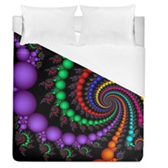 Fractal Background With High Quality Spiral Of Balls On Black Duvet Cover (queen Size) by Amaryn4rt