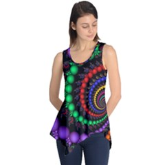 Fractal Background With High Quality Spiral Of Balls On Black Sleeveless Tunic