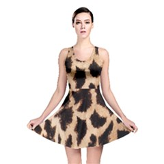 Yellow And Brown Spots On Giraffe Skin Texture Reversible Skater Dress by Amaryn4rt
