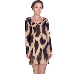 Yellow And Brown Spots On Giraffe Skin Texture Long Sleeve Nightdress
