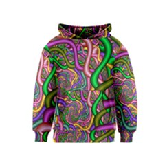Fractal Background With Tangled Color Hoses Kids  Pullover Hoodie